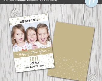 Happy New Year Card Template, Photoshop Editable Card,New Year Digital Card, Photography Template, Digital Template, Christmas Card Template