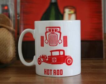 10 oz Ceramic Mug with Hot Rod Car print