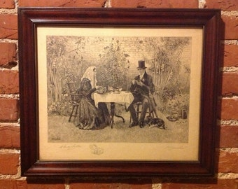 Antique Etching by W. Dendy Sadler Framed Rare Etching Victorian Fine Art
