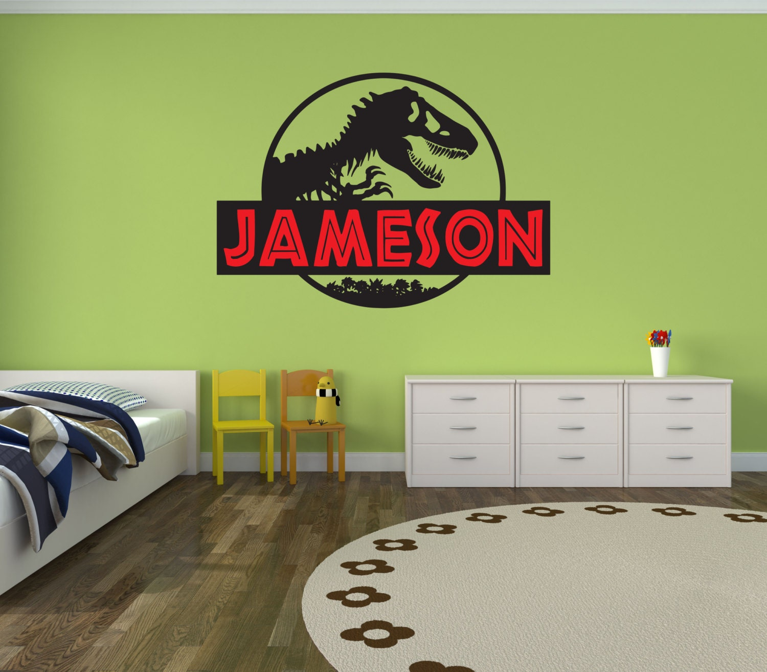 Jurassic world jurassic park wall decal boy name girl name for Best 20 jurassic park wall decal