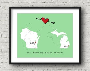Boyfriend Gift Girlfriend Gift Ideas, Long Distance Relationship Boyfriend, Long Distance Love, 1st Anniversary Gift for Him, Personalized
