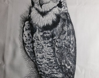 hand drawn horned owl pillow cover