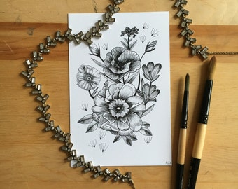 Flower Ink Drawing, 4x6 Floral Print #2