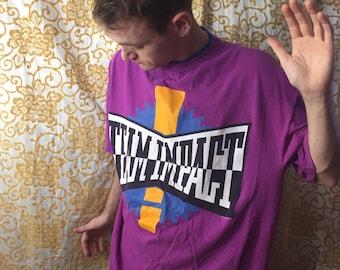 80s Team Impact Purple Layered Collar Sun Sportswear T Shirt Bigger Baggy Top