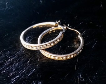 Crystal and Sterling Hoop Earrings  6.7g