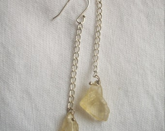 Lemon quartz and silver drop earrings
