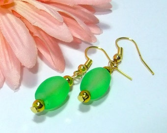 Classic Green, frosted glass bead earrings