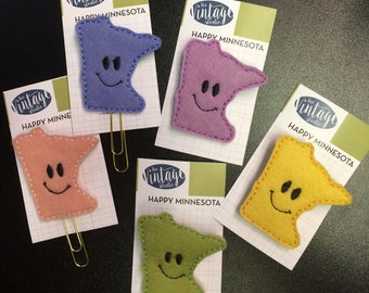 MInnesota Happy Felt Pins or Planner/Book Clip