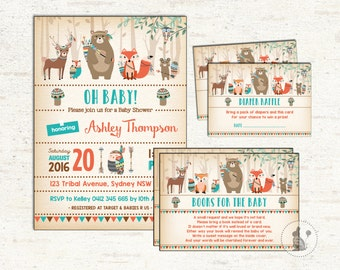 3-PIECE-SUITE. Tribal Baby Shower Party Invitation. Diaper Raffle. Books For Baby Insert Card. Rustic Woodland Baby Shower Package. TRI2