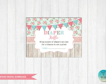 Vintage Diaper Raffle Ticket Printable. INSTANT Download. Floral Baby Shower Invitation Insert Card. Vintage Shower Enclosure Card SC1