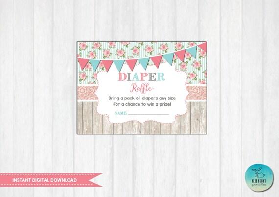 vintage diaper raffle ticket printable instant download floral