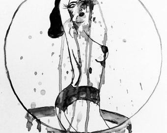 "Fashion Illustration Painting Dita Von Teese Vintage Burlesque ""Shaken AND Stirred Gal"""
