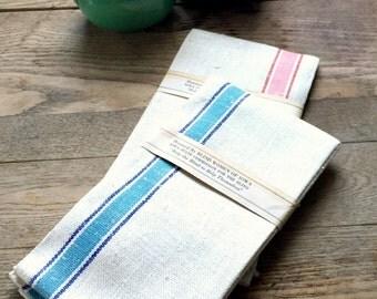 Vintage Linen Dish Towels; Blue and Pink Stripes