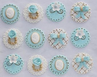 Fondant Wedding Cupcake Toppers/ Vintage Wedding Cupcake Toppers/ White and Light Blue Cupcake Toppers/ Gold Wedding Cupcake Toppers/