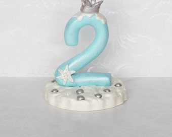 Ice Princess Age Number. Ice Princess Cake Topper. Handmade Fondant Cake Topper. 2nd Birthday Cake Topper. Custom Cake Topper.