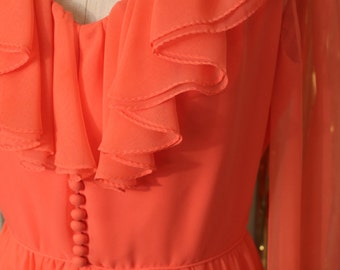 1970s Ruffle Coral Fit and Flare Dress.