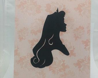 """Princess Aurora Inspired Cut Paper Silhouette Portrait 8"""" x 10"""" Cut Out Art Portraits"""