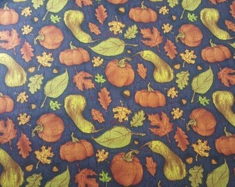 "Fall Leaves and Squash Fabric, END of BOLT, REMNANT, (44""x44""), Pumpkins, Gourds, Acorns, Autumn, Halloween, Thanksgiving, Oak Leaves"