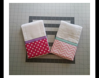 2 Pack- Pink Baby Burp Cloths, ribbon trim, pink polka dots, pink chevron, baby shower gift, baby girl