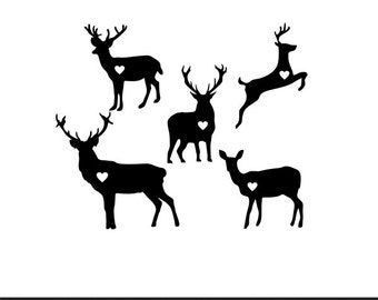 deer hearts svg dxf file instant download stencil silhouette cameo cricut clip art nature hunting animals commercial use
