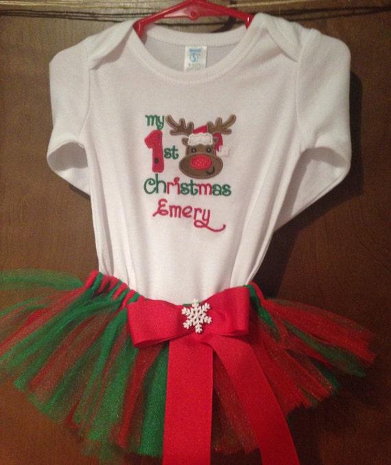 1St Christmas Shirt – 1st Christmas Bib – Christmas Shirt – Christmas Bib - 1st Christmas Outfit - First Christmas TuTu - 1st Christmas TuTu