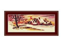 Winter Landscape Counted Cross Stitch Chart, Snow Scene Cross Stitch Pattern, Homestead in Winter Instant PDF Digital Download