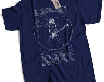 Leonardo Vitruvian Bass Player Bassist Premium Bass Guitar T-Shirt Choice of 12 Colours in Sizes Small to 2X Large