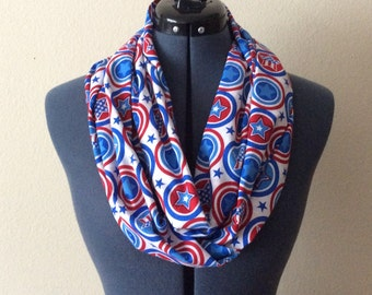 Patriotic Shield Infinity Scarf / Stars / Circles / Red White and Blue / Patriotic / Fourth of July / Memorial Day / Veterans Day / Scarf