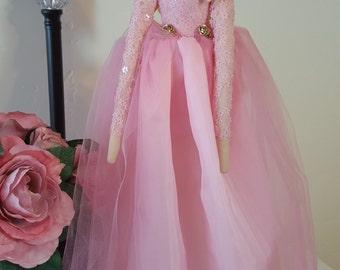 Briar Rose doll, handmade cloth princess doll, tilda doll, pink satin and sequin dress with tiara, birthday gift, Christmas gift, home decor