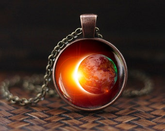 Solar Eclipse Necklace, Space necklace, Galaxy Pendant, Eclipse Necklace, Earth Solar Eclipse, Outer Space Sun Jewelry, mens necklace