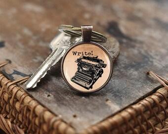 Old Typewriter Keychain, Vintage Typewriter Keychain, Old Typewriter jewelry, Writer Keychain, gift for Writer,