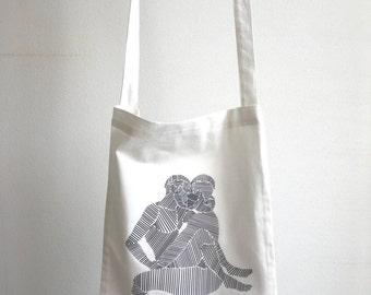 "Printed cotton tote bag ""Line boys"""