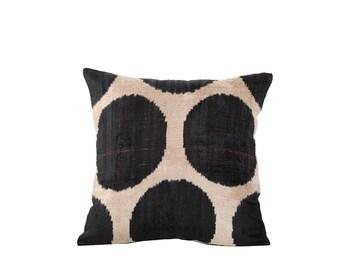 18 x 18 Uzbek hand-woven black & white ikat pillow cover in silk velvet