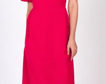 Fuchsia dress with flared sleeves