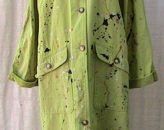 Size Large/XL  Reworked Hand Painted Hand Dyed Vintage L L BEAN Raincoat
