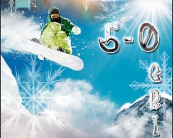 Snowboarding 50 grind Cornhole Wrap Bag Toss Decal Baggo Skin Sticker Wraps