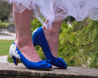 Wedding shoes blue wedding shoes royal blue low heels reception shoes lace wedding shoes blue wedding shoes blue US SIZE 6