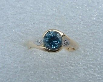 Blue topaz and diamond ring-solid gold ring with blue topaz and diamonds-gold ring-topaz ring