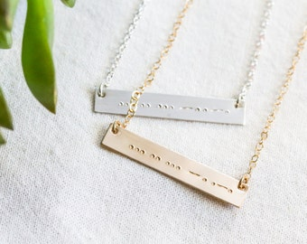 Morse Code Necklace - Morse Code Jewelry - Gold Bar Necklace - Sister Morse Code Necklace - Morse Code - Gift For Her - Bar Necklace