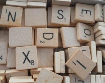 Vintage Wood Scrabble Tiles (50)