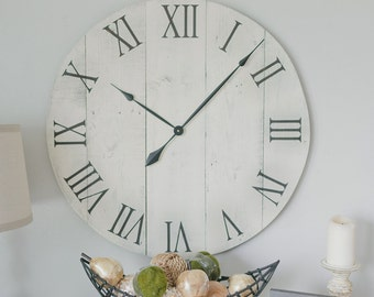 30 in wall clock. White oversized wall clock. Rustic wall clock. Wall hanging. Barn wood clock. White wall clock.- Gift for her