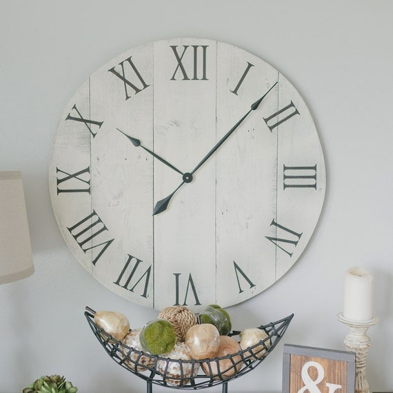 30 In Wall Clock White Oversized Wall Clock Rustic Wall