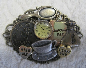 Collage Brooch, Vintage, 2.25 x 1.5 inches, Mixed Metals
