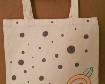 Hand-Painted Canvas Tote: Orange Flower and Polka Dots