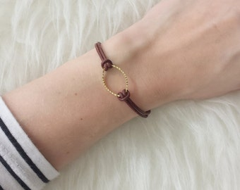 "Bracelet ""leather & gold"""