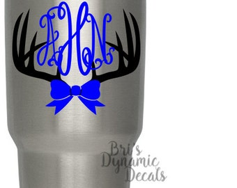 Antlers Monogram YETI decal - custom name rambler tumbler sticker - hunting cup decal - diy hunter gift idea - deer buck doe