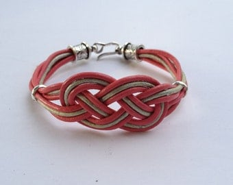 Pink & grey leather Celtic Knot, silver accents, hook clasp, braided, two tone, gift for her