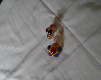 Earrings, multi colored bauble ear clipped