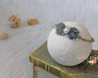 Newborn flower crown, newborn halo, newborn organic tieback, newborn photography prop - RTS