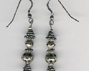 EW07005P-Earrings-Sterling Silver handmade beads, dangle & earwires with naturally aged patina, 2 in.